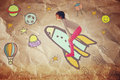 Photo of cute kid imagine spachip flight. image withe set of infographics over paper background Royalty Free Stock Photo