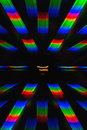 Photo of the diffraction pattern of light from incandescent spiral obtained with the help of two diffraction gratings rainbow Stock Photography