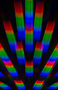 Photo of the diffraction pattern of light from incandescent spiral obtained with the help of two diffraction gratings rainbow Stock Photos