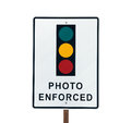 Photo enforced traffic light sign warning in sunny beverly hills california Royalty Free Stock Photography