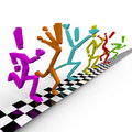 Photo Finish - Runners Cross Finish Line Together Stock Photos