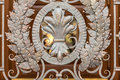 Photo of forged metal decoration on gates closeup Stock Image