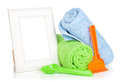 Photo frame with bath towel and toys isolated on white background Royalty Free Stock Photos