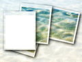 Photo frame and blue sea waves blank background Stock Images