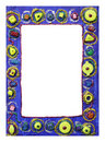 Photo frame designed with glitter glue & beads Stock Images