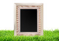 Photo frame on green grass nature over white Royalty Free Stock Photo
