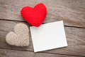 Photo frame or greeting card and valentines day toy hearts Royalty Free Stock Photo