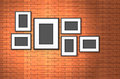 Photo frame on old brick wall blank Royalty Free Stock Photo