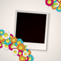 Photo frame with paper flowers vector Royalty Free Stock Photo