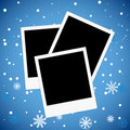 Photo frame on a snowy background vector illustration Stock Photography