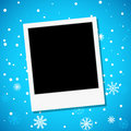 Photo frame on a snowy background vector illustration Stock Photo