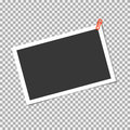Photo frame with staple on transparent background. Vector template, blank for trendy and stylish photo or image