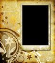 Photo frame on vintage floral background Royalty Free Stock Photo