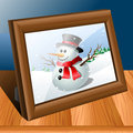 Photo frame wood table snowman picture eps Royalty Free Stock Image