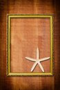 Photo frame on wood wall texture. Royalty Free Stock Photo