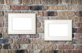 Photo frames on brick wall Royalty Free Stock Photo