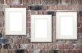 Photo frames on brick wall Royalty Free Stock Photo