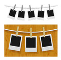 Photo frames with pins on rope Royalty Free Stock Images