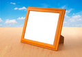 Photo frames on the table and white background Royalty Free Stock Image