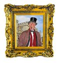 Framed portrait of english gent toff top hat monocle castle home Royalty Free Stock Photo