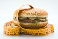 Photo of a hamburger with centimeter diet concept Royalty Free Stock Images
