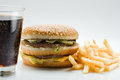 Photo hamburger french fries glass cola Royalty Free Stock Images