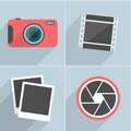 Photo icons with long shadow vector illustration this is file of eps format Royalty Free Stock Photo