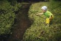 Photo of little boy fishing cute on river Stock Photography