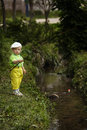 Photo of little boy fishing cute on river Stock Images