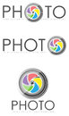 Photo logo illustrations a set of colorful photography logos with an aperture symbol and placeholder for text or slogan Stock Photography