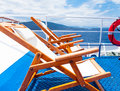 Photo of the loungers in greece Stock Photography