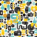 Photo man seamless background abstract vector pattern with photographer monster Stock Images