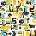 Photo man seamless pattern abstract vector illustration of photographer monster Stock Images