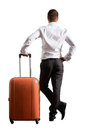 Photo of man with suitcase over white background Stock Photography