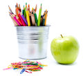 Photo of office and student gear with color pencils in aluminum pencil holders back to school supplies Royalty Free Stock Images
