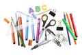 Photo of office and student gear over white background. Royalty Free Stock Photo