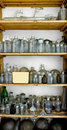 Photo of an old laboratory with a lot of bottles and dirt Stock Photography