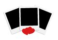 Photo papers card and red hearts isolated on white background Royalty Free Stock Photography