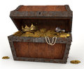 Photo pirates chest full loot white background Royalty Free Stock Images