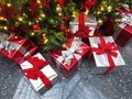 Many Christmas presents under the tree Royalty Free Stock Photo