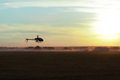 Photo rc copter flying sunset Stock Images