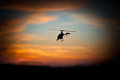 Photo rc copter flying sunset Royalty Free Stock Photo