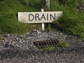 Photo rural water waste drain sign side of road Royalty Free Stock Photography