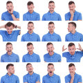 Photo set of casual young man expressions sixteen pictures a showing various isolated on a white background Stock Photos