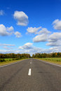 The photo shows a section of asphalt road dod blue clear sky with white fluffy clouds Stock Photos