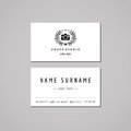 Photo studio business card design concept. Photo studio logo with photo camera and olive wreath. Vintage, hipster and retro