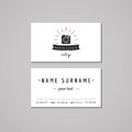 Photo studio business card design concept. Photo studio logo with photo camera, rays and ribbon. Vintage, hipster and retro style