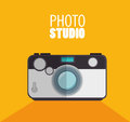 photo studio camera with shadow and yellow background design graphic