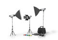 Photo studio equipment on a white bacground. Royalty Free Stock Photo