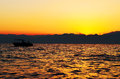 Photo sunset sea silhouette boat water Stock Photo